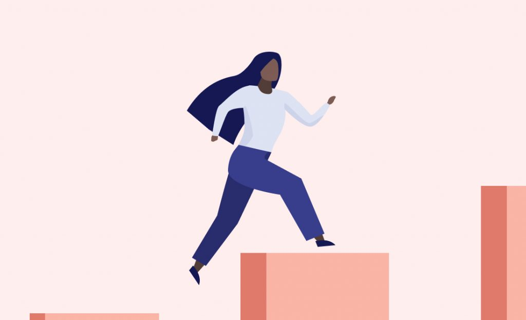 Illustration of a woman climbing steps.