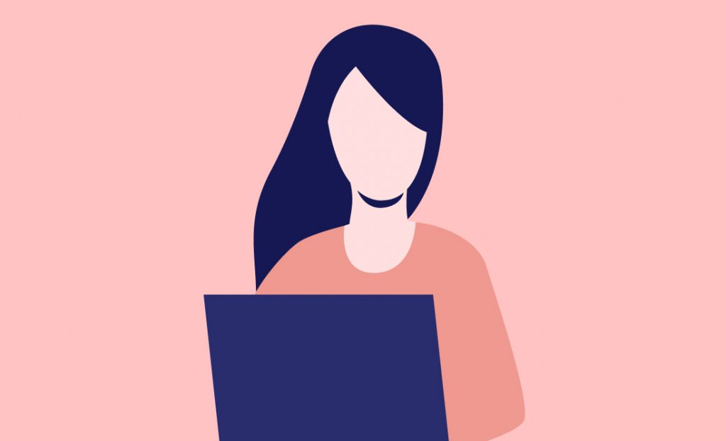 Illustration of a woman working on a laptop.